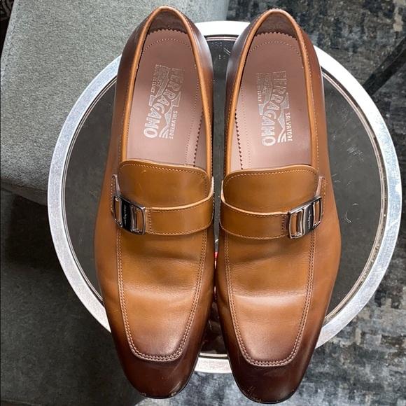 Salvatore Ferragamo Burnished Leather Loafers